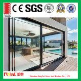 Porte coulissante en verre en aluminium de couleur noire