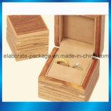 Коробка роскошного пакета ювелирных изделий коробки кольца упаковки твёрдой древесины деревянная