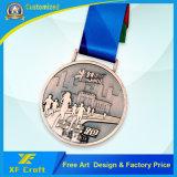 공장 가격 리본 (XF-MD16)를 가진 주문 금속 스포츠 또는 마라톤 큰 메달 앙티크 금관 악기 큰 메달