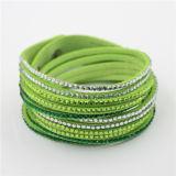 Multi bracelete de cristal de couro novo do enrolamento da camada