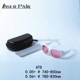 Las gafas de seguridad de laser protegen 740-850nm la alta transmitencia el 45% para el Alexandrite, 755nm laser, diodos 808nm con los colores blancos