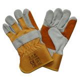 Двойные перчатки работы Split кожи Cowhide Resisitant отрезока ладони для горнорабочих