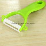 Lámina de cerámica Peeler de la maneta de los PP del verde del adminículo de la cocina