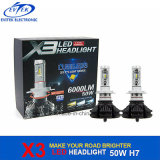 LED Headlight Fanless 50W 6000lm X3 H7 LED Headlight Bulbs Kit de conversão para substituição do farol do carro