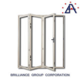 Алюминиевая дверь складчатости Frameless стеклянная, дверь двойной застеклять алюминиевая Bi-Fold