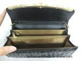Цвет способа черный глянцеватый выбивает Бумажник PU повелительницы с цепью для плеча