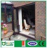 Дверь складчатости цвета Шампань алюминиевая, стеклянная дверь, алюминиевая дверь Pnocslw00014