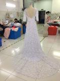 Een kleding van het Huwelijk van het Kant van de Lijn/van de Prinses Bloemen Zuivere Witte met Korte Koker