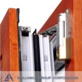 Final de madera del grano de aluminio Ventana basculante y giratoria