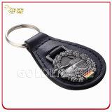 Forma retangular personalizada Soft Enamel Metal & Leather Key Chain