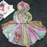 Fashion Silk Scarf浜のショールの勾配のポルカドットの印刷された女性