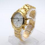 5ATM делают вахту водостотьким браслета Wristwatch нержавеющей стали людей (золото)