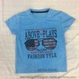 Tissus bleus de T-shirt de garçon de lavage avec l'impression en verre Sq-6628 des Etats-Unis