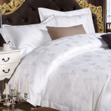 60s Cotton White Jacquard Bedding Set for Star Hotel (DPFB8099)