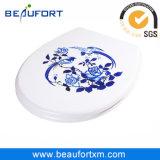 Acessórios azuis e brancos do Inkjet de HD do pássaro e da flor de toalete do assento
