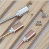 Кабель заряжателя Nylon кабеля оплетки магнитный для Типа-C серебра/золотистого/пинка