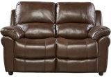 Mobilia del salone con il sofà del cuoio genuino