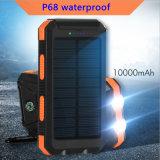 P68 делают крен водостотьким 10000mAh солнечной силы с заряжателем функции Sos компаса солнечным