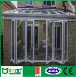 Porta de dobradura de alumínio do perfil do material de construção com projeto de vidro