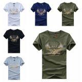 Les hommes occasionnels court- l'impression de Witn Sustom de T-shirt de sports de coton de chemise
