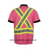 カスタム安全Birdeyeの網が付いている反射テープポロのTシャツ