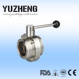 Válvula de mariposa sanitaria de la cuerda de rosca Dn32 de Yuzheng