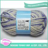 Fio de lãs tricotando manualmente tingido colorido lavado super do ofício