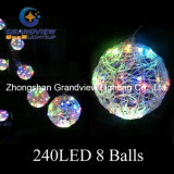 新しいAcrylic 240LED 7m Multi Color 8 Balls Decoration Lights