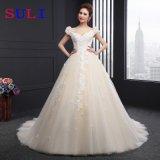 V-Ansatz Schutzkappen-Hülse Appliques Hochzeits-Kleid (SLD044)