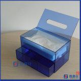 Cassetto acrilico facciale di memoria/casella cosmetica dell'organizzatore con l'erogatore del tessuto