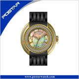 Swiss Movt Bling Diamond Watch avec bracelet en cuir
