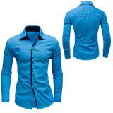 Katoenen van de hemel Blauw Overhemd voor Mensen (A446)