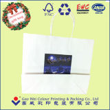 Saco de papel impresso do presente de Kraft com punhos de papel