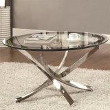 指示しなさい販売法の六角形のステンレス鋼の居間(NK-CTB005)のためのガラスコーヒーテーブルを