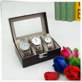 Cadre de luxe fabriqué à la main en cuir de cas d'exposition de mémoire de montre de Mens d'unité centrale