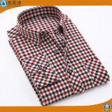 Camisas de alineada al por mayor del algodón de las camisas de la manera de los hombres con el botón