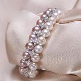 Neues Entwurfs-Perlen-Armband 8-9mm AAA nahe rundem Doppeltem rudert Sterlingsilber-gemischtes Farben-Perlen-Armband