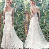 Новый шнурок прибытия отбортовывая V-Шею связывает платье венчания