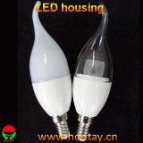 Carcaça componente da lâmpada da luz da vela da cauda do dispositivo elétrico de iluminação do diodo emissor de luz