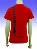 T-shirt rond de polyester de douille de short du cou des femmes promotionnelles