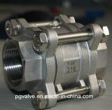 Шариковый клапан резьбы CF8/CF8m 3PC NPT с Ce