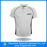 Chemise de polo blanche plate blanche d'habillement de golf en gros en bloc d'hommes
