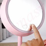 Espejo de escritorio ligero recargable de la lámpara de vector del nuevo de la manera 2016 del maquillaje del espejo espejo LED del soporte
