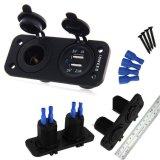 Voltmètre à LED 12V étanche + double port USB Prise de courant Chargeur Adaptateur 3.1A