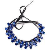 Juwelen van de Halsband van de Nauwsluitende halsketting van de Manier van het Leer van de Laag Pu van het Kristal van het bergkristal de Multi