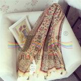 Bohemia nacional estilo viscosa bufanda con franja decoración
