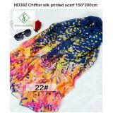 150 * 200cm Hot Sale Chiffon imprimé Shawl Fashion Lady Silk Écharpe