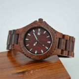 Custom Stainless Steel Clasp Red Sandal Wood Watch