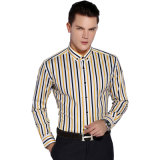 능직물 면 순수하 노란 색깔 긴 소매 사업 정장 드레스 셔츠