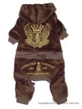 Juicy Promotion Velvet Windproof brodé en or Jumpsuit pour animaux de compagnie